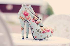 Super Cute Shoes Pastel Blue Flowers Vintage Heels Fashion Colors