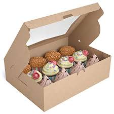 Amazon X Chef Cupcake Boxes Food Grade Kraft Bakery With Inserts And Display Windows Fits 12 Cupcakes Or Muffins Packs Kitchen Dining