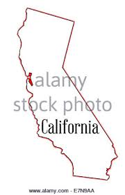 State Map Outline Of California Over A White Background