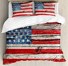 Rustic American USA Flag Queen Size Duvet Cover Set By Ambesonne Fourth Of July Independence