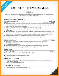 Resume Sample Architect Caption Architecture Student