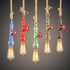 Diy Antik Uap Pipa Air Warna Warni Lampu Gantung Loft Industri E27 Tali Rami