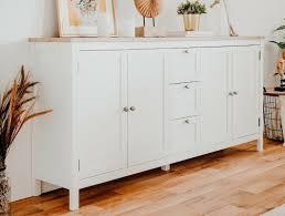 schrank sideboard landhausstil weiß eiche wohnzimmer