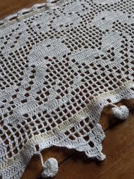 rideau brise bise au crochet oiseaux coton blanc façon ancien