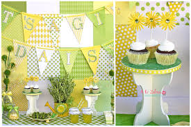 Yellow And Green Baby Shower Daisy Dessert Table