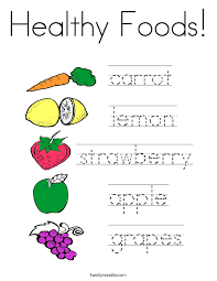 Healthy Foods Coloring Page Project Awesome Pages