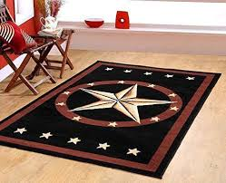 Picture Of Texas Western Star Rustic Cowboy Decor Black Area Rug 625