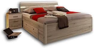 stella trading mars stilvolle doppelbett bettanlage 180 x 200 cm mit 2x nachtkommoden schlafzimmer komplett set in eiche san remo optik weiß 216