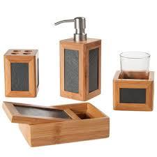 bambus schiefer badezimmer zubehör bambus bad set