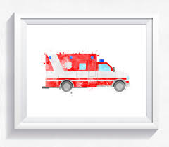 100 Emergency Truck Rescue Ambulance Watercolor Rescue Printable Emergency Car Wall