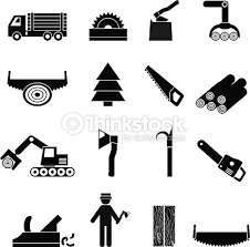 Woodworking Industry Icons Black Vector Art
