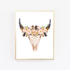 Decorated Cow Skulls Pinterest by Boho Print Boho Wall Art Boho Room Decor Cow Skull Print