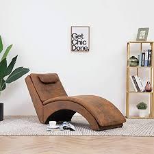 festnight relaxliege liegesessel lounge liege chaiselongue mit kissen wohnzimmer liegestuhl in wildleder optik braun