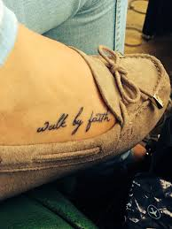 Walk By Faith Tattoo On Ribs For Men