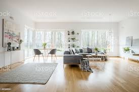 weisse elegante wohnzimmer interieur mit windows graues ecksofa und moderne kunst poster stockfoto und mehr bilder blume