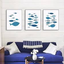 fisch comic ozean abstrakte meer fisch blau korallen leinwand kunst poster drucke wand bild gemälde nordic wohnzimmer decor