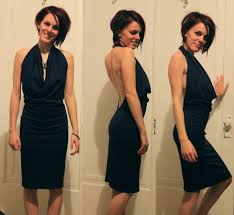 diy easy backless dress tutorial with a halter top cowl neck youtube
