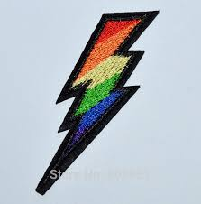 Rainbow The Flash Lightning Bolt Symbol Thunder High Voltage Iron On Patch