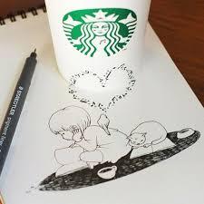 605x605 Starbucks Cups Become 3D Drawings Bored Panda