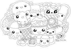 Cute Kawaii Food Coloring Pages Picture Page Online Packed With Book Color Animal