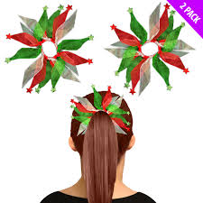 Details About 2pc Green Red Organza Elastic Hair Ties Bands Christmas Party Bobble Bows