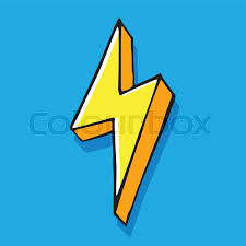 Yellow Lightning Bolt Hand Drawn Vector Doodle Illustration On Blue