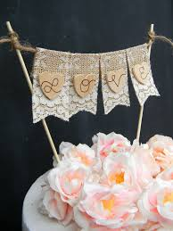 Items Similar To Love Cake Topper Burlap Lace Banner Flags Bunting Hearts Rustic Wedding Shabby Chic Bridal Shower