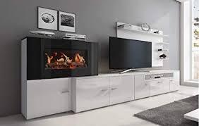 home innovation wohnmöbel mit elektrischem kamin mit 5 flammenstufen oberfläche mattweiß und hochweiß lackiert maße 290 x 170 x 45 cm tief