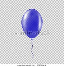 Transparent blue helium balloon Isolated vector illustration on plaid transparent background Birthday baloon flying