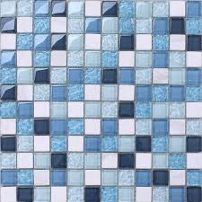 mosaic tile backsplash kitchen design blue glass blend