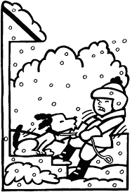 Kid And Dog Winter Coloring Pages