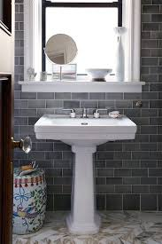 grey subway tiles bathroom transitional with gray blue tile new