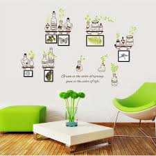 Bottle Green Leaves Frame Photo Wall Stickers Tree For Kids Rooms Home Decor DIY Wallpaper Art