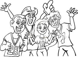 Sports fans rooting for their team coloring page Royalty Free