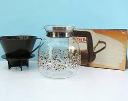 Vintage 80s Glass Filter Coffee Jug Maker Set Sainsburys Funnel Bags