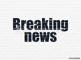 News Concept Painted Black Text Breaking On White Brick Wall Background