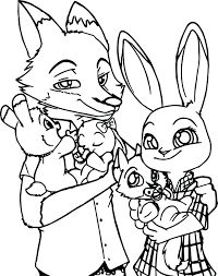 Cute Fox Coloring Pages Red Pictures Bunny Family Page Full Size