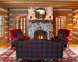 Rustic Living Room With Dark Green And Red Plaid Couch Color Also Elegant Padded Armchair Cushions Traditional Stone