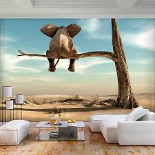 vlies fototapete afrika elefant baume himmel landschaft