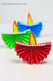 Accordion Fold Diwali Paper Diya Craft