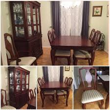 Prillos Cherry Brown Dining Table Hutch Set2 Pieces 6 Chairs