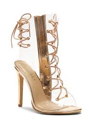 veronnicca lace up perspex peep toe stiletto boots clear rose gold