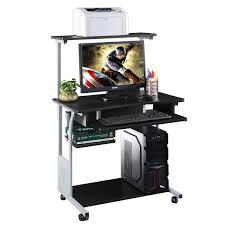 Office Depot Standing Desk Converter by Costway Puter Desk W Printer Shelf Stand Rolling Laptop Home