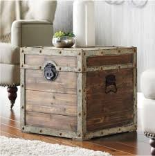 End Tables Designs Antique Vintage Storage Trunk Rustic Brown Box Side Chest Coffee Look Square Shape Wooden Material Metal Frame