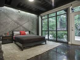 Modern Guest Bedroom with French doors & Exposed beam in DALLAS