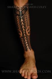 SHANE TATTOOS Polynesian Calf Tattoo