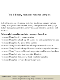 Top 8 Dietary Manager Resume Samples In This File You Can Ref Materials For