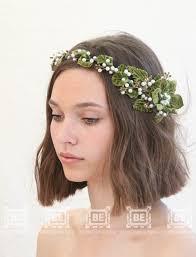 Green Flower Crown Rustic Wedding Headpiece Bridal Floral Halo Headband Vintage