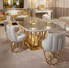 casa padrino luxus designer esszimmer set elfenbeinfarben gold 1 esstisch 6 esszimmerstühle luxus designer esszimmermöbel hotel möbel