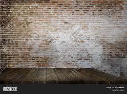 Empty Rustic Table Front Brick Wall Background Use For Object Product Placement Or Backdrop Promotion